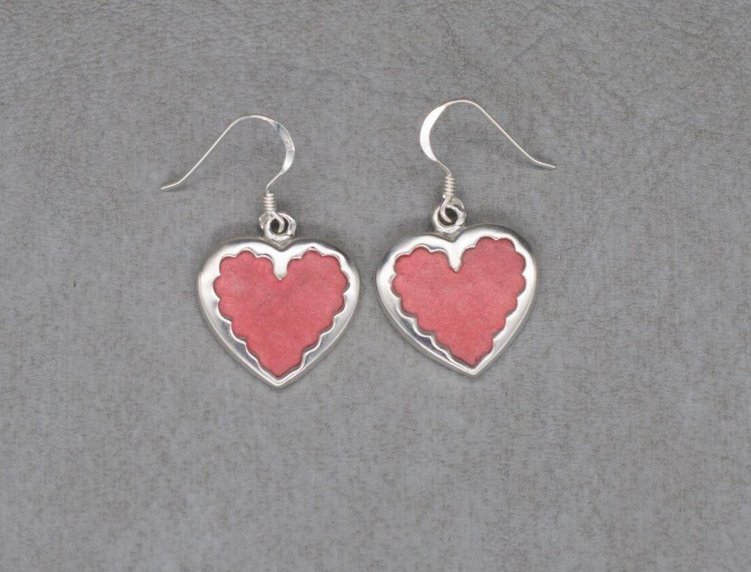 Sterling silver & mottled red stone heart earrings