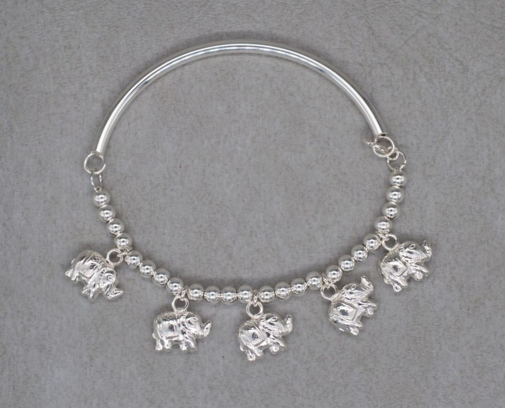 Unusual sterling silver elephant charm bracelet