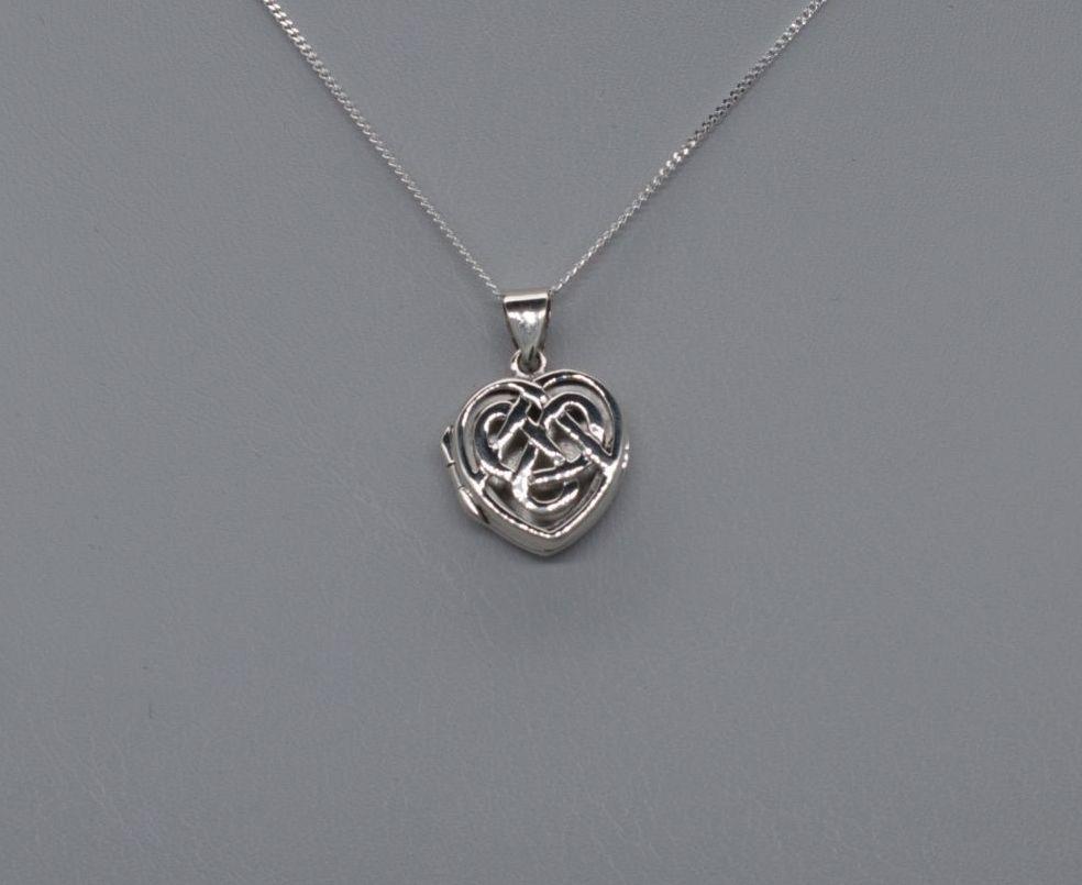 Sterling silver celtic knot heart locket / necklace