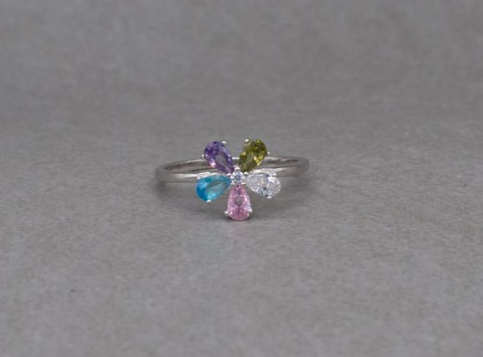 Pretty sterling silver & multi-colour stone floral cluster ring