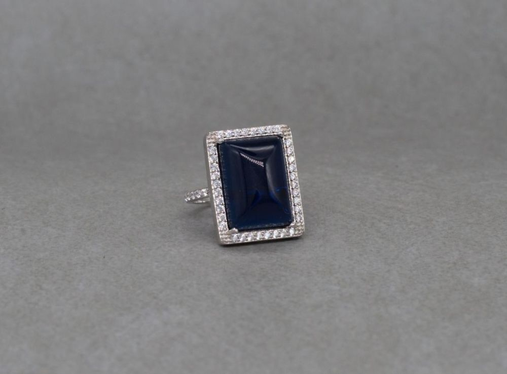 Rectangular sterling silver & deep blue stone cocktail ring