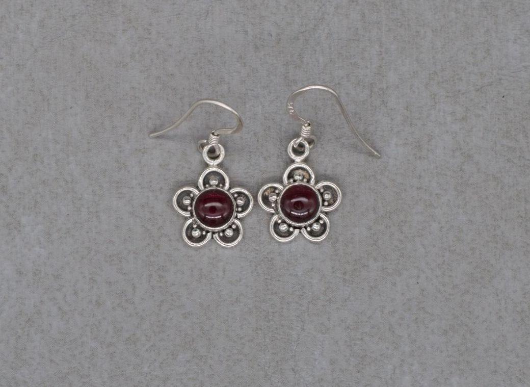 Sterling silver & garnet flower earrings