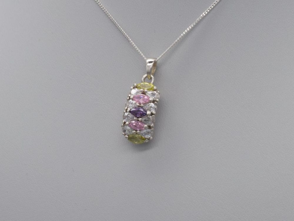 Fancy sterling silver necklace with multi-colour stones
