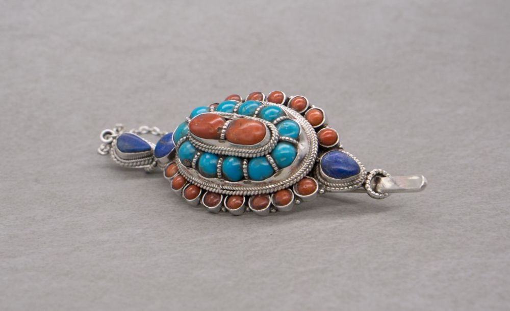 South western sterling silver barrette with turquoise, lapis & coral