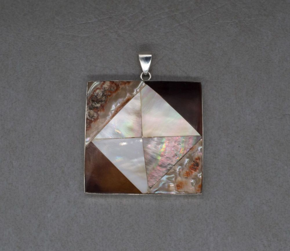 Large square sterling silver & mother of pearl pendant