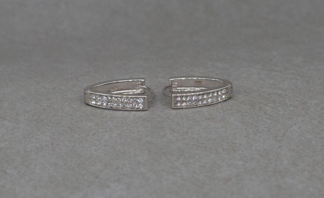 Sterling silver & clear stone 'V' shape hoop earrings