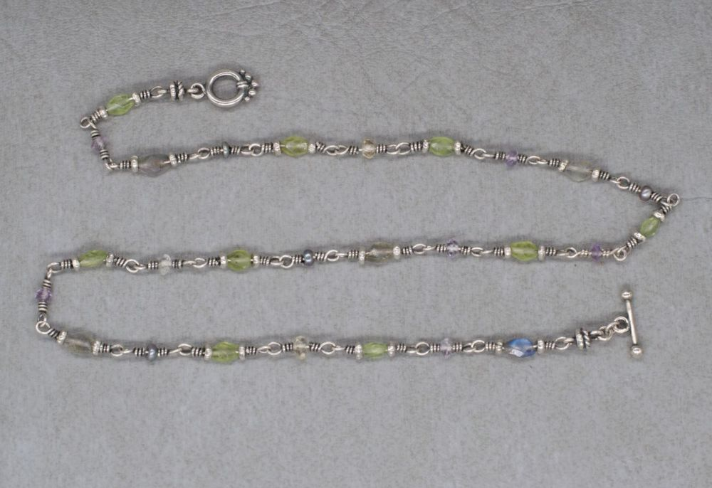 Handmade sterling silver & stone chip toggle necklace