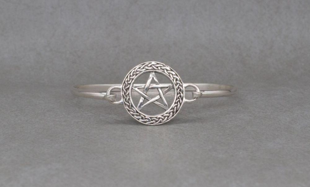 Sterling silver pentagram star bangle