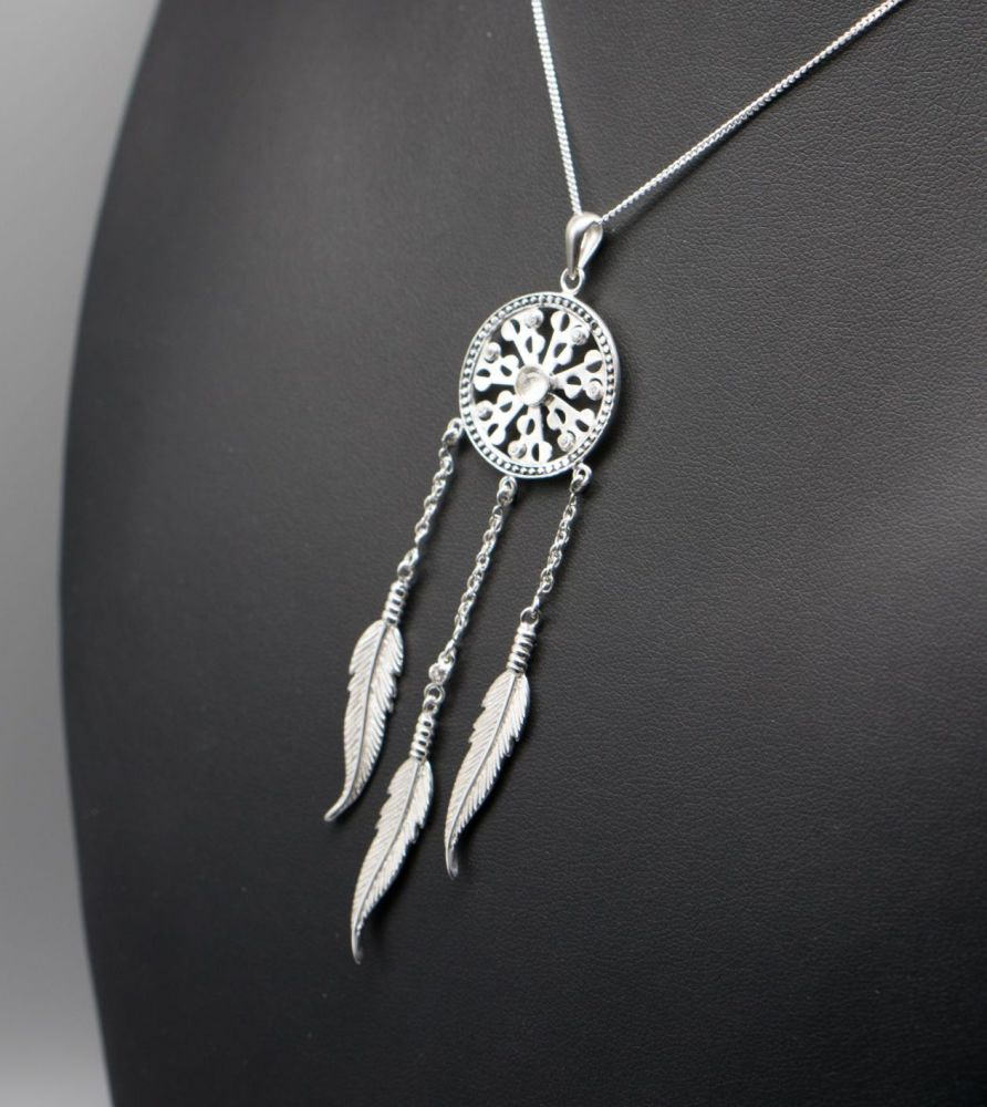 Long sterling silver dream-catcher necklace