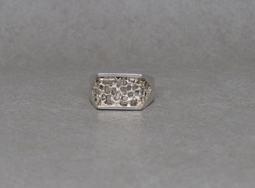 Handmade sterling silver textured ring