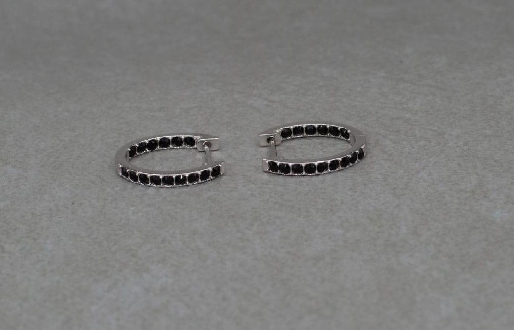 Sterling silver & black stone hoop earrings