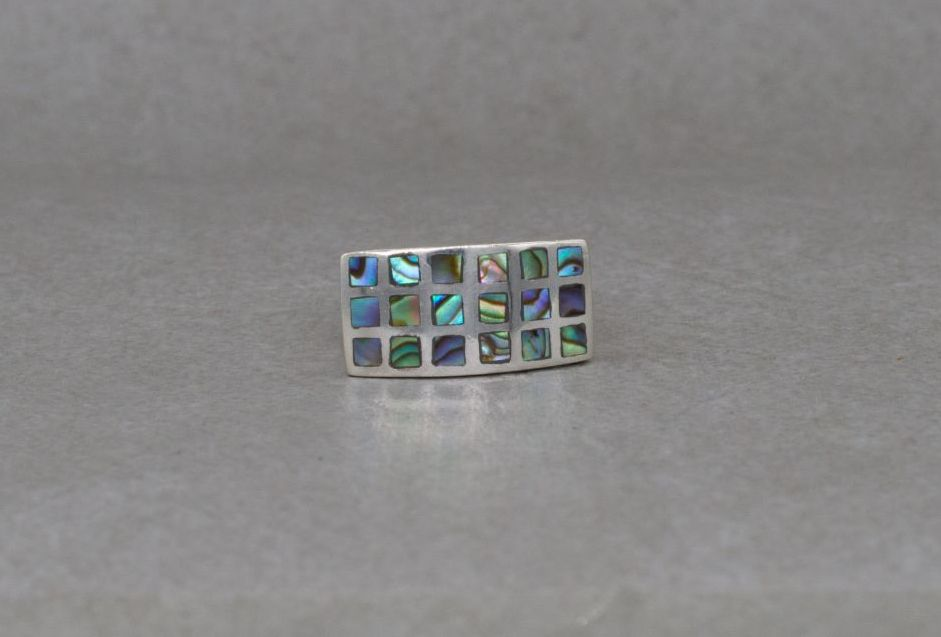 Chunky sterling silver ring with square abalone inlay