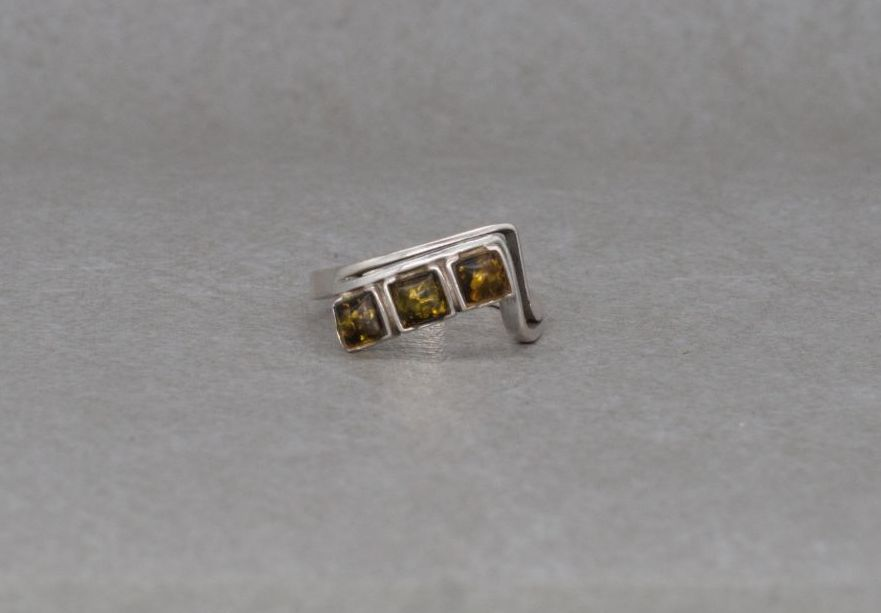 Asymmetric sterling silver & amber ring