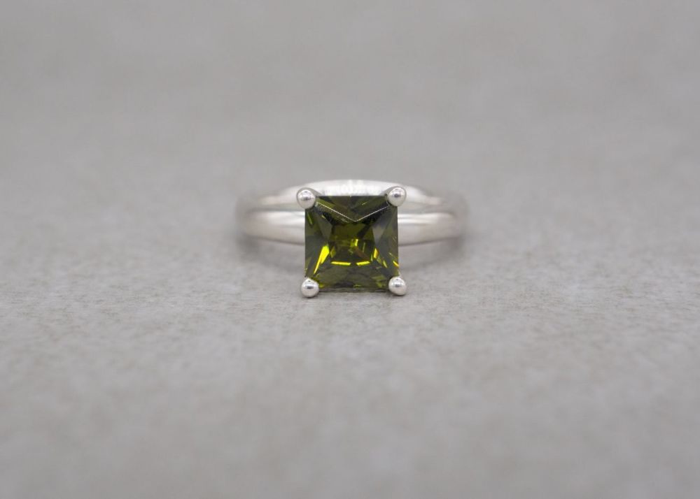 Square sterling silver & peridot solitaire ring