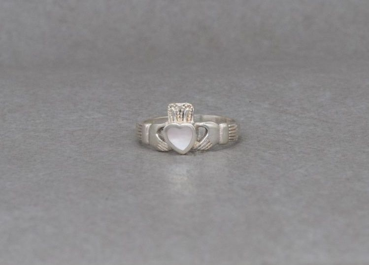 Sterling silver claddagh ring with a mother of pearl heart