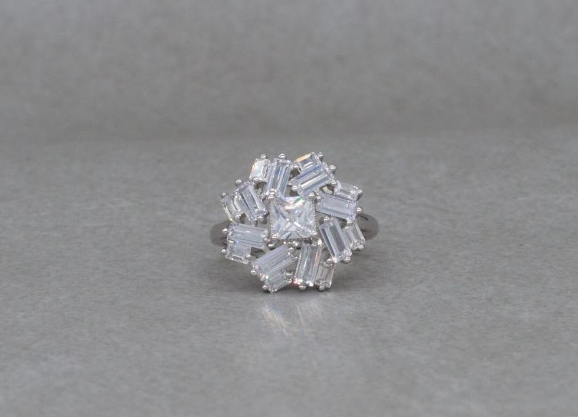 Unusual sterling silver & clear stone cluster ring
