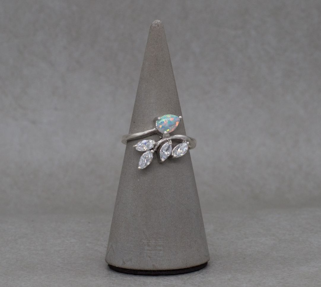 Asymmetric sterling silver, imitation opal & clear stone ring