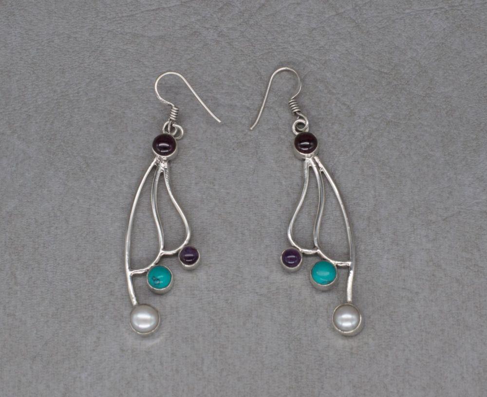 Sterling silver & multi-gem earrings