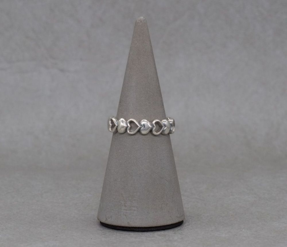 Sterling silver chased heart ring