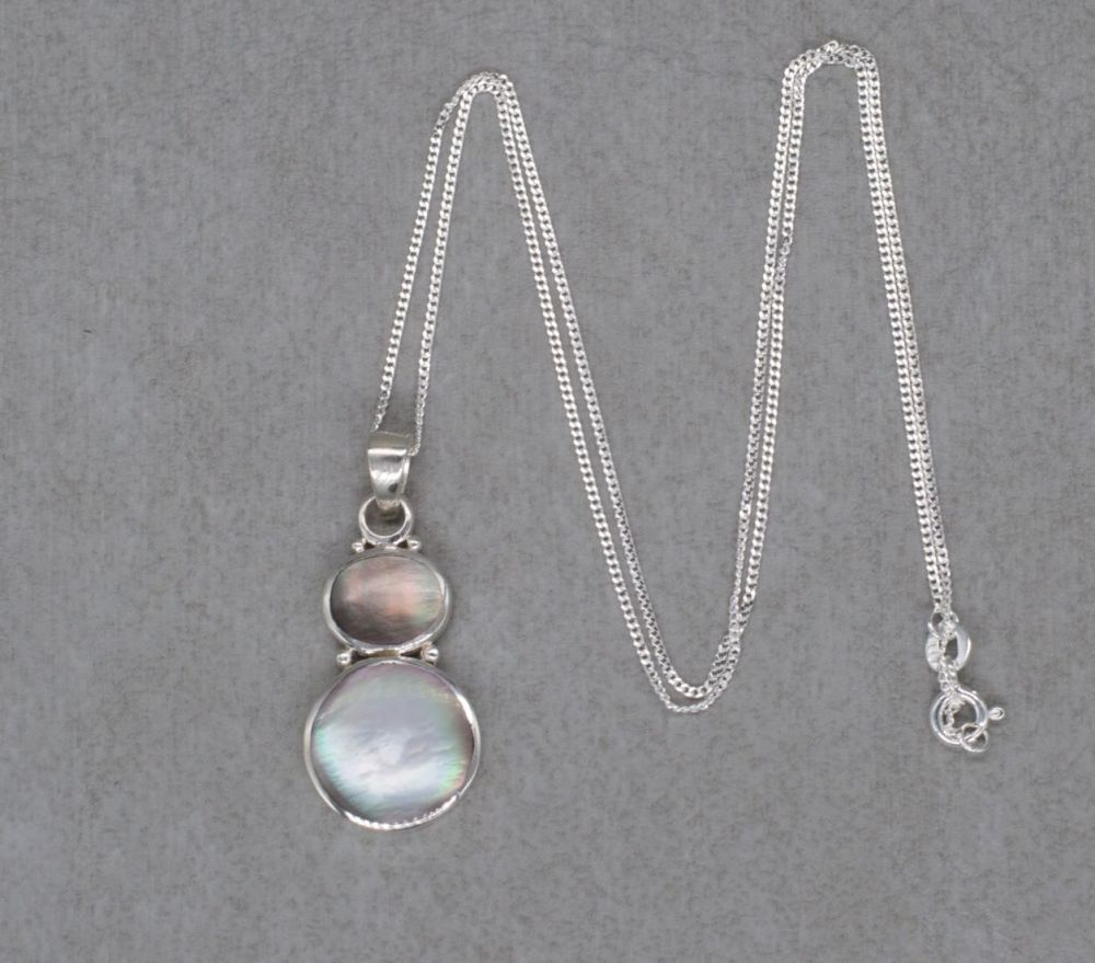 Graduated sterling silver & mother of pearl necklace