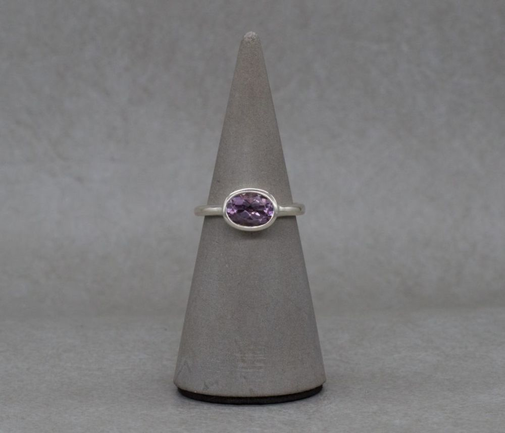 Handmade sterling silver & amethyst solitaire ring