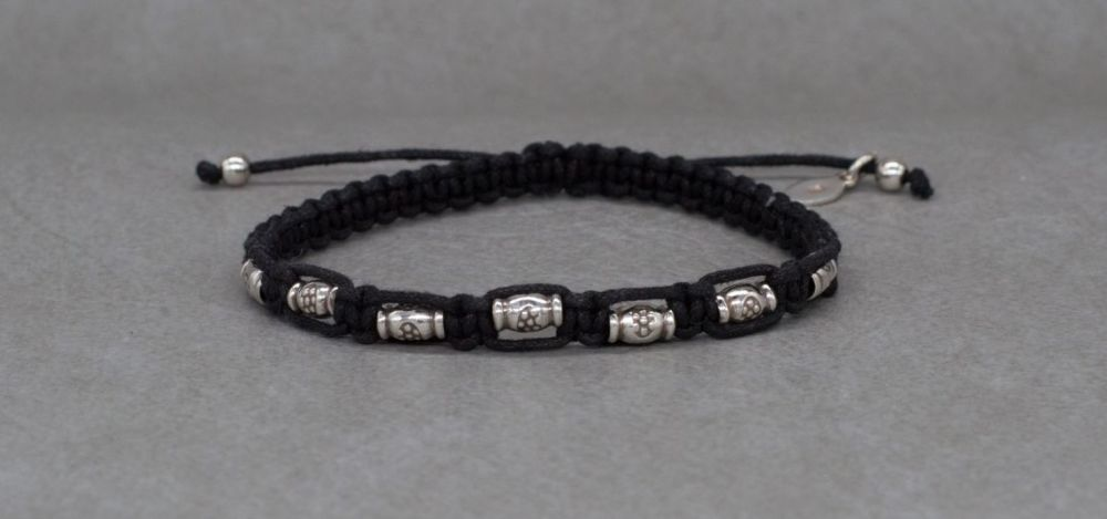 Adjustable sterling silver & black cord friendship bracelet