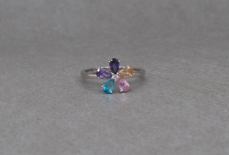 Pretty sterling silver & multi-colour stone flower cluster ring