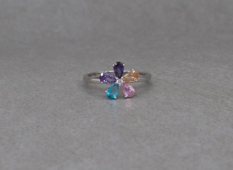 Pretty sterling silver & multi-colour stone flower cluster ring (L 1/2)