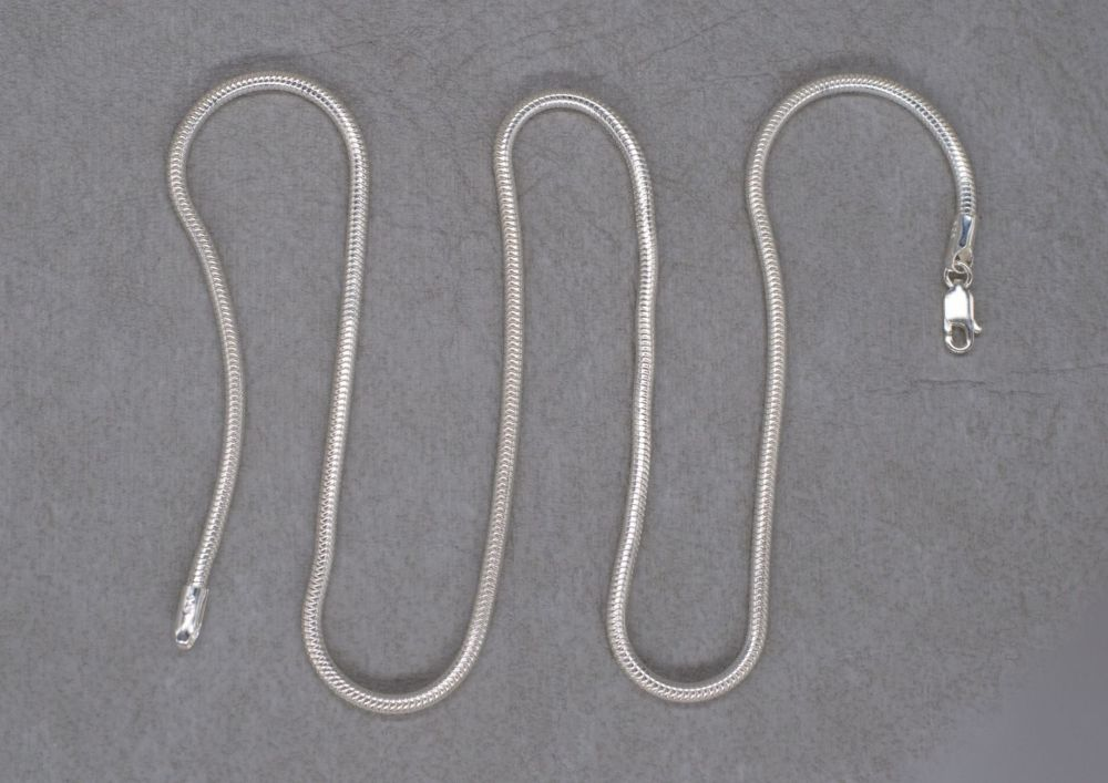 """Thick sterling silver snake chain (20"""", 2.6mm)"""