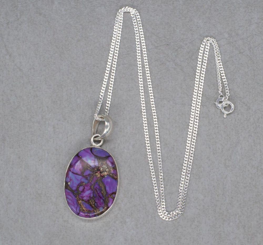 Sterling silver & purple jasper necklace