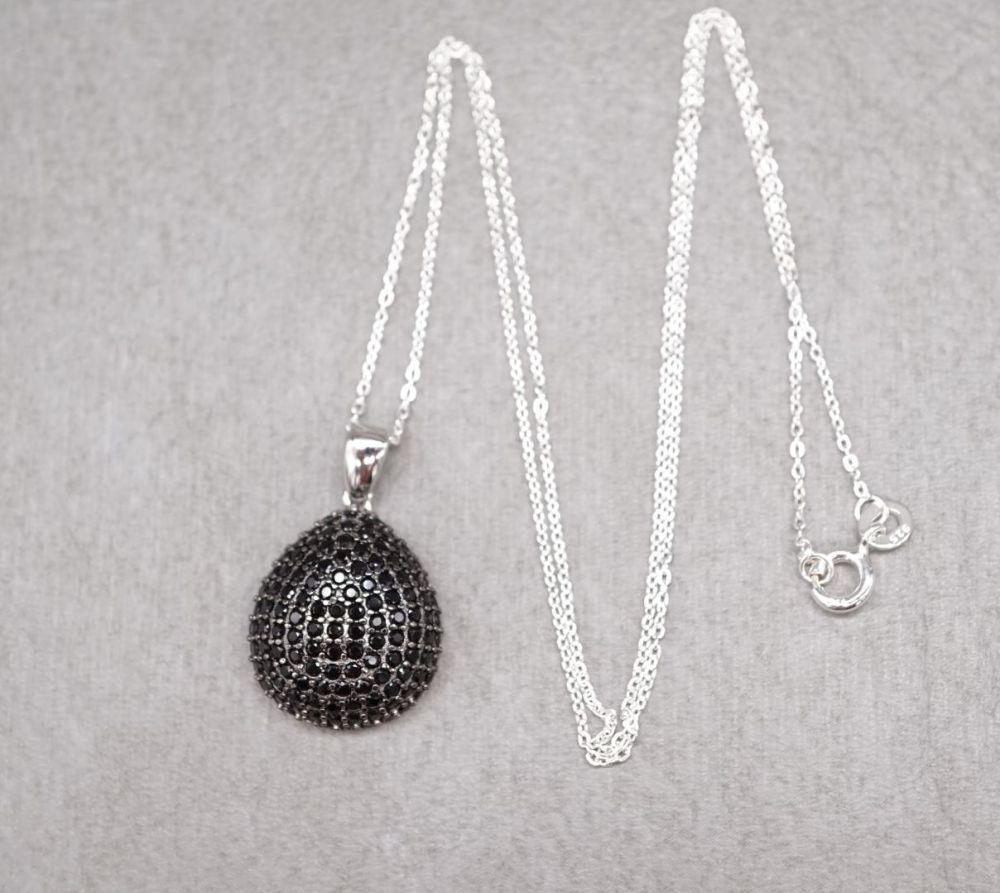 Sterling silver & black spinel necklace