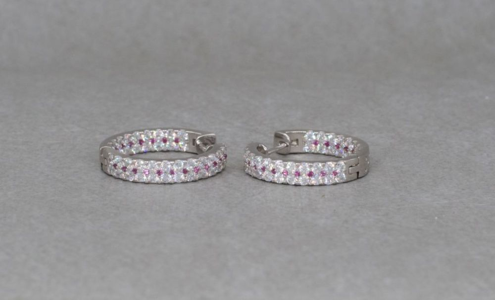 Sterling silver hoop earrings with tiny pink & clear stones