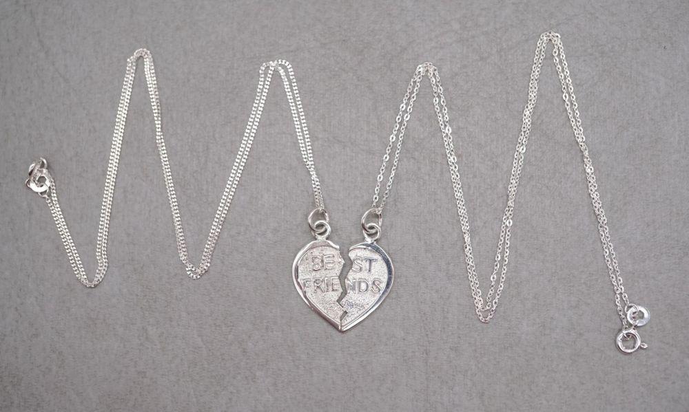 Sterling silver 'BEST FRIEND' split heart necklaces