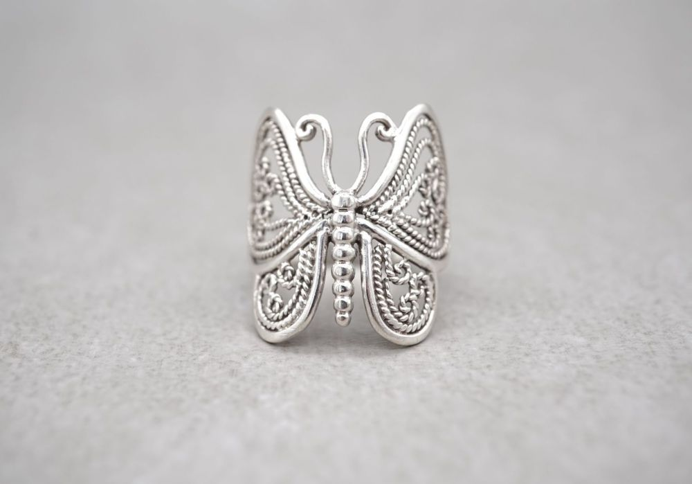 Sterling silver butterfly ring with filigree detail