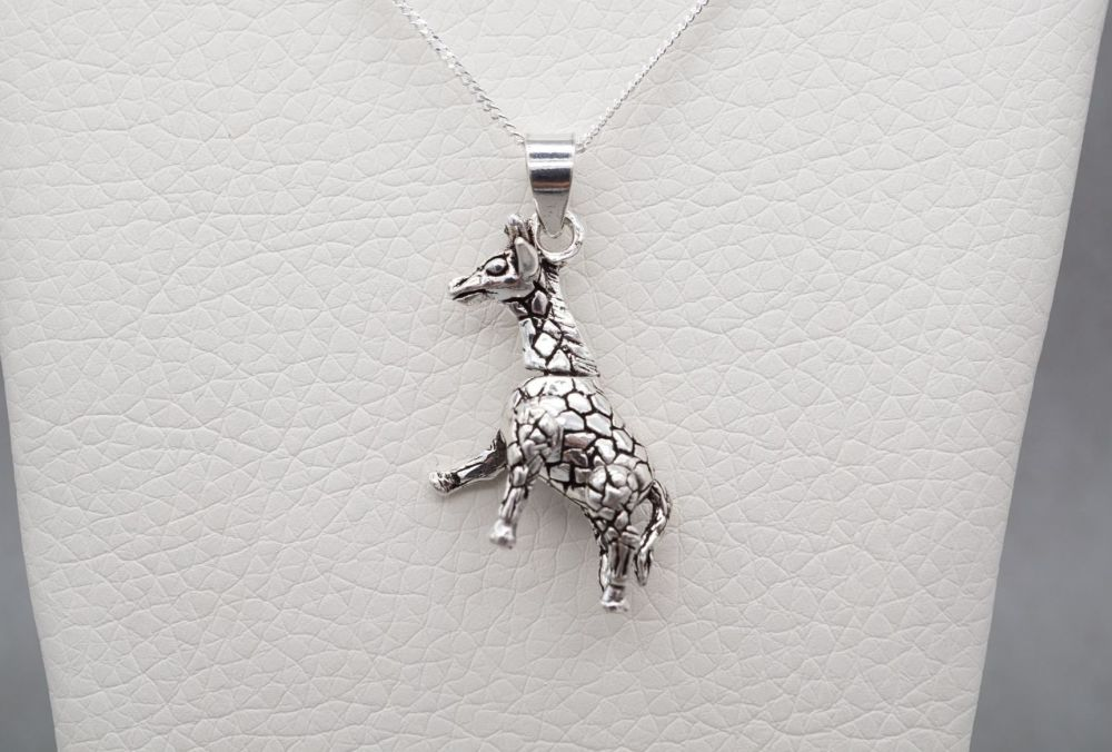 Unusual sterling silver articulated giraffe necklace