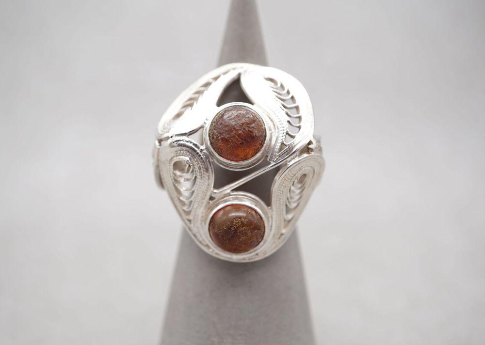 Unusual Polish 800 silver filigree ring with raw orange stones