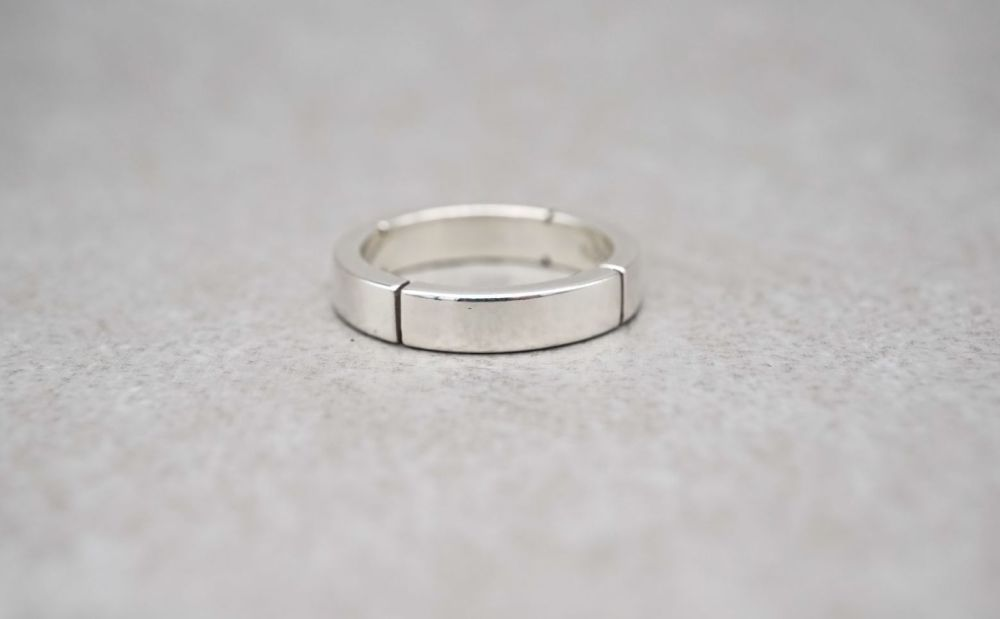 Unusual sterling silver rectangular profile band ring