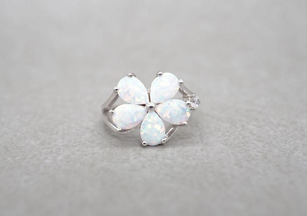 Sterling silver & imitation opal floral / flower ring