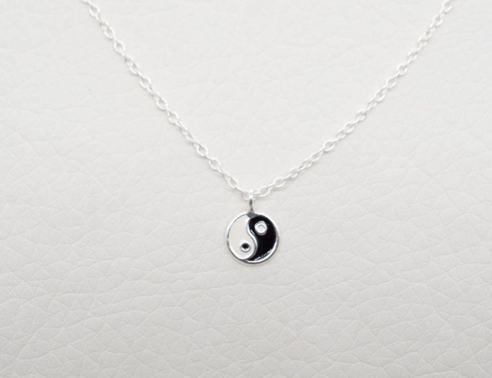Tiny sterling silver ying yang necklace