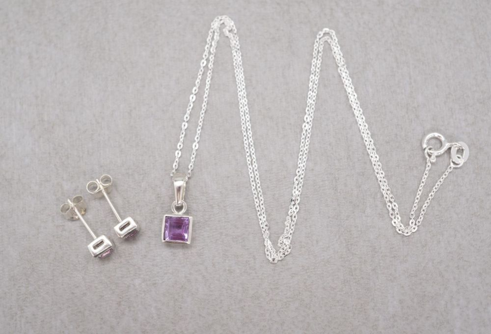 Small sterling silver & amethyst set; necklace and stud earrings
