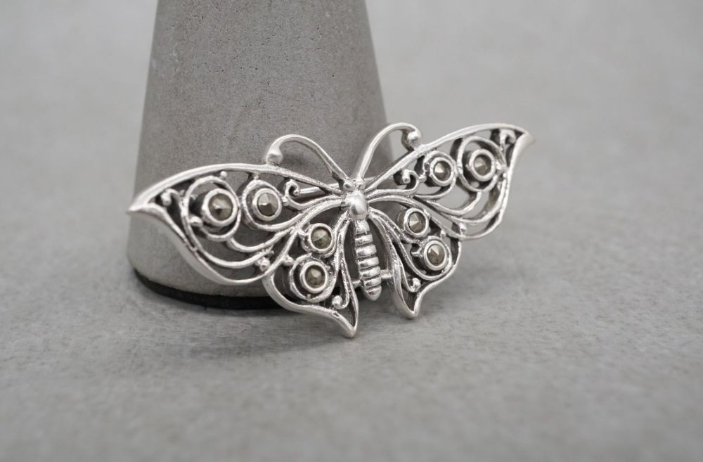 Sterling silver & marcasite butterfly brooch