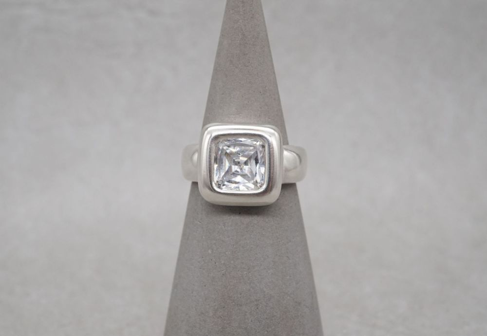 Bold square sterling silver solitaire ring