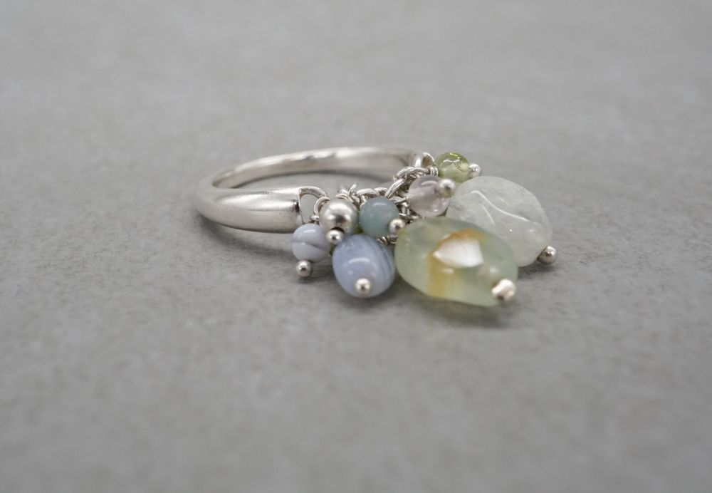 Sterling silver bead cluster ring with agate & quartz