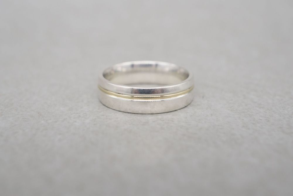 Sterling silver & 9ct gold wedding band ring
