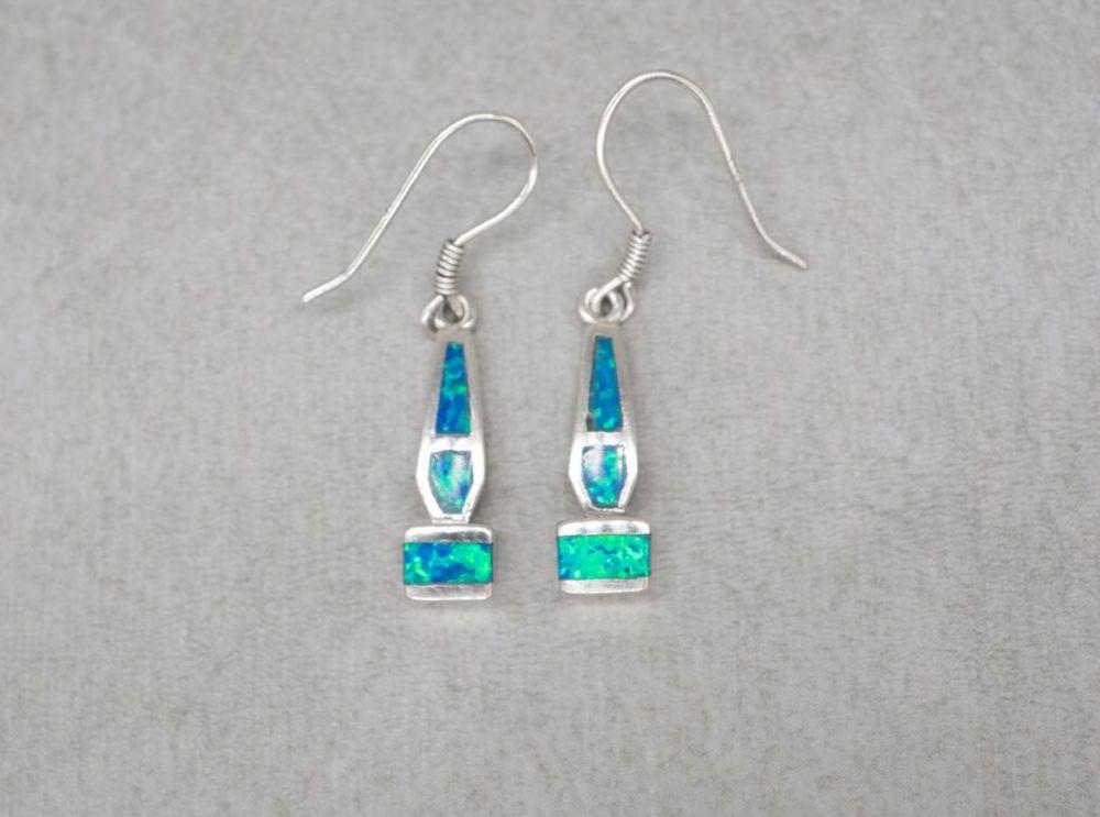 Sterling silver & blue imitation opal earrings