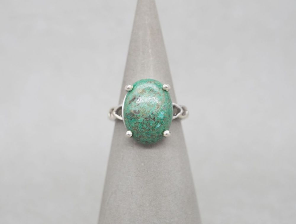 Sterling silver & green azurite ring