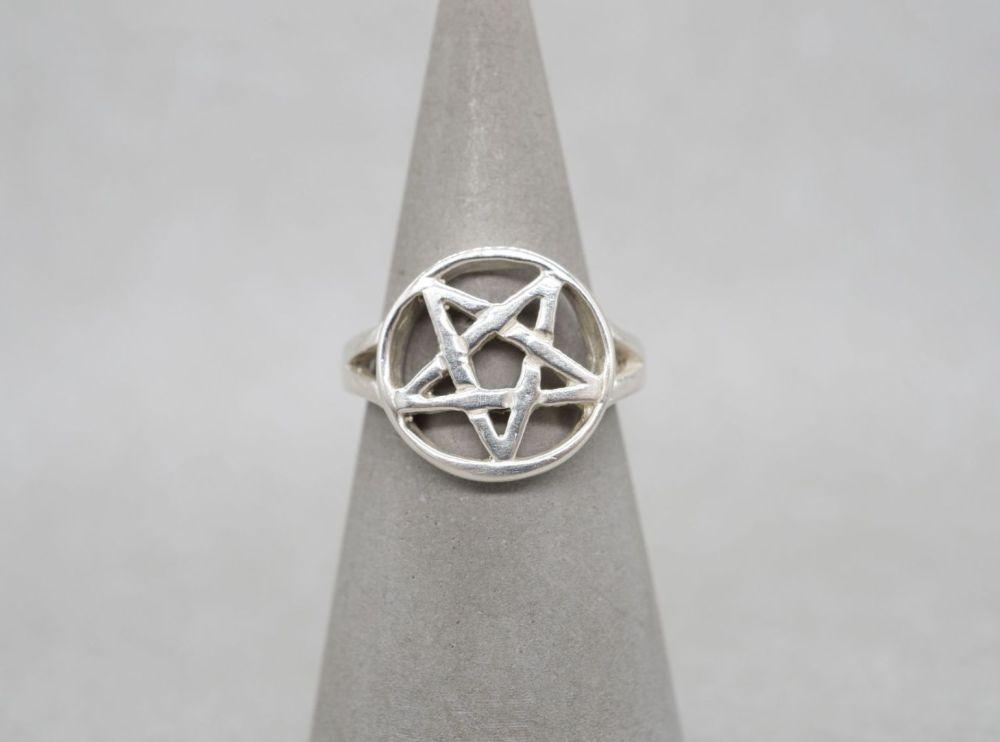 Sterling silver pentagram ring