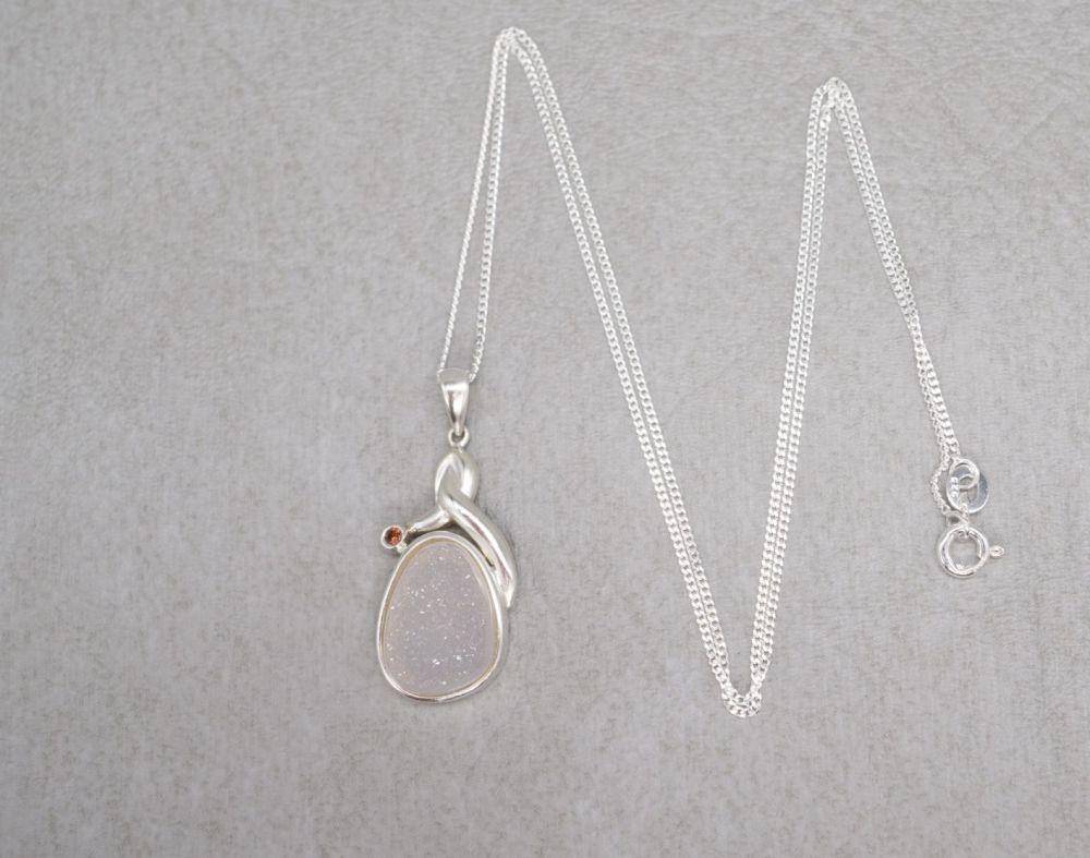Sterling silver, white druzy quartz & garnet necklace