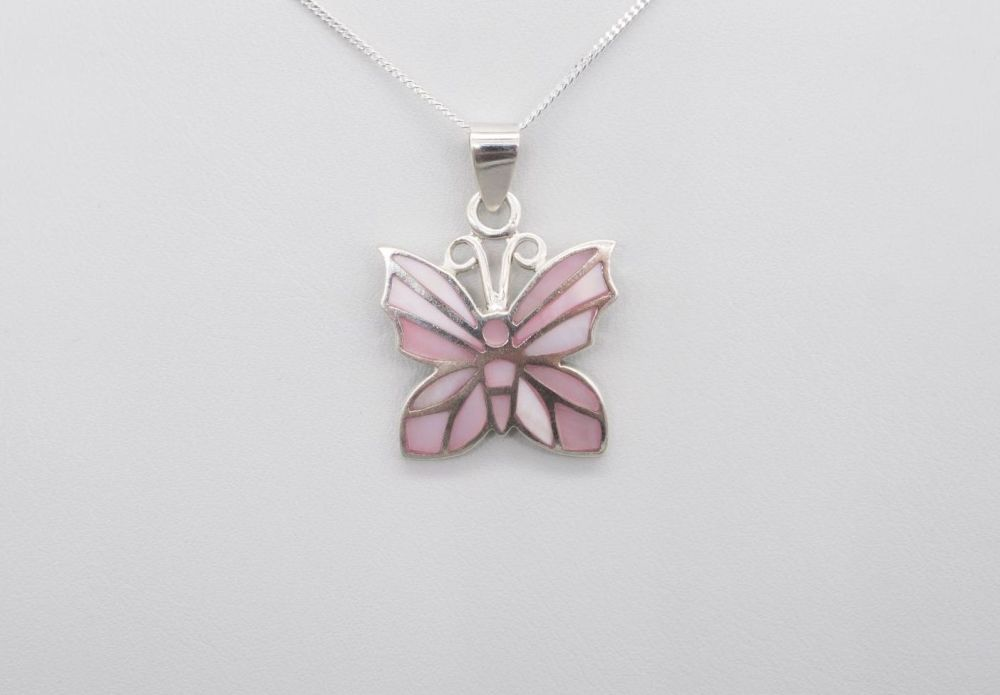 Sterling silver & pink mother of pearl butterfly necklace
