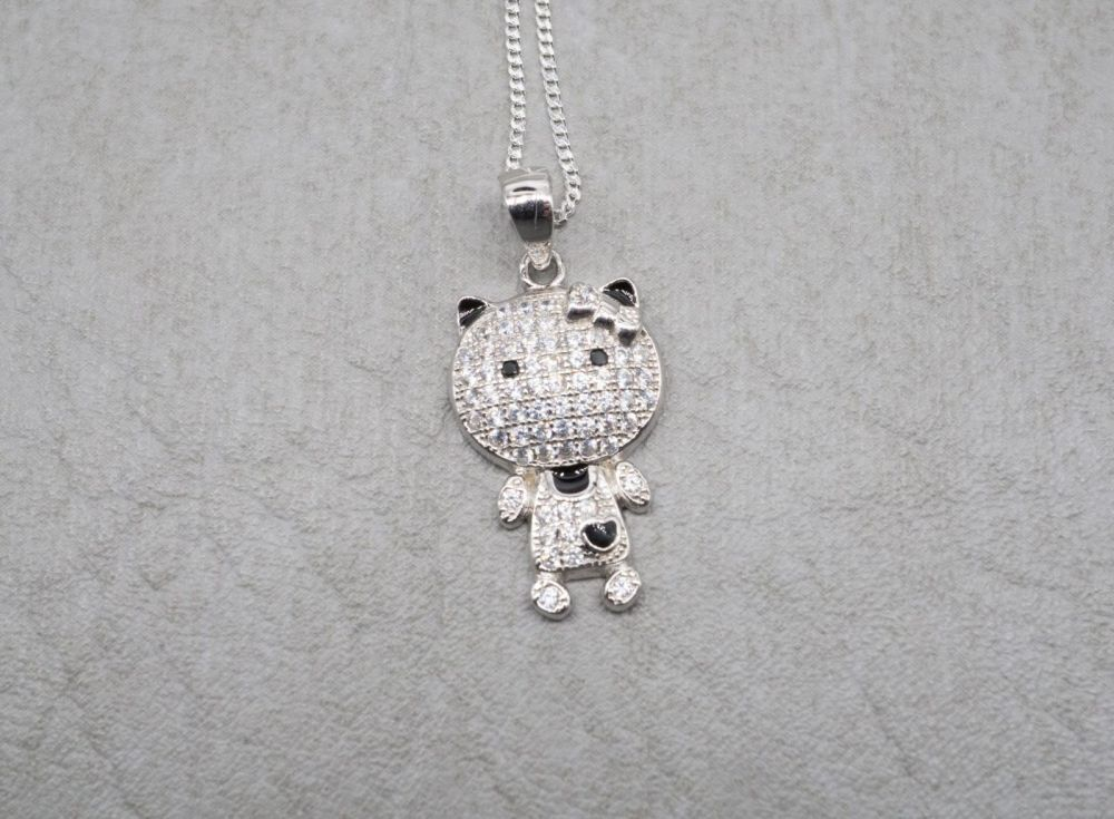 Sterling silver kitty cat necklace with clear stones & black enamel detail